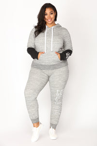 Love Sequence Lounge Hoodie - Marled Charcoal Angle 2