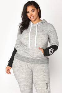 Love Sequence Lounge Hoodie - Marled Charcoal Angle 3