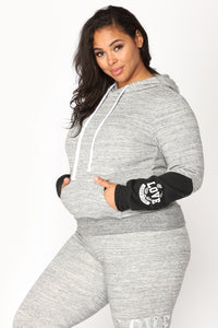 Love Sequence Lounge Hoodie - Marled Charcoal Angle 4