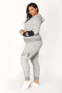 Love Sequence Lounge Hoodie - Marled Charcoal Angle 5