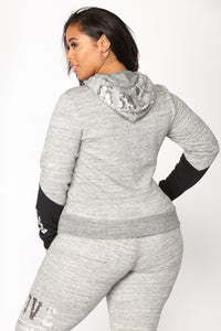 Love Sequence Lounge Hoodie - Marled Charcoal Angle 6
