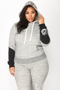 Love Sequence Lounge Hoodie - Marled Charcoal Angle 1