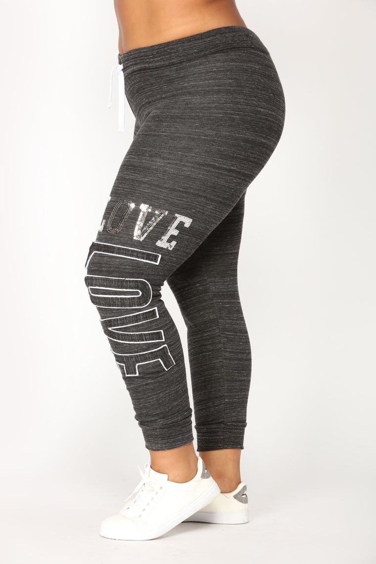 Love Sequence Lounge Joggers - Marled Black
