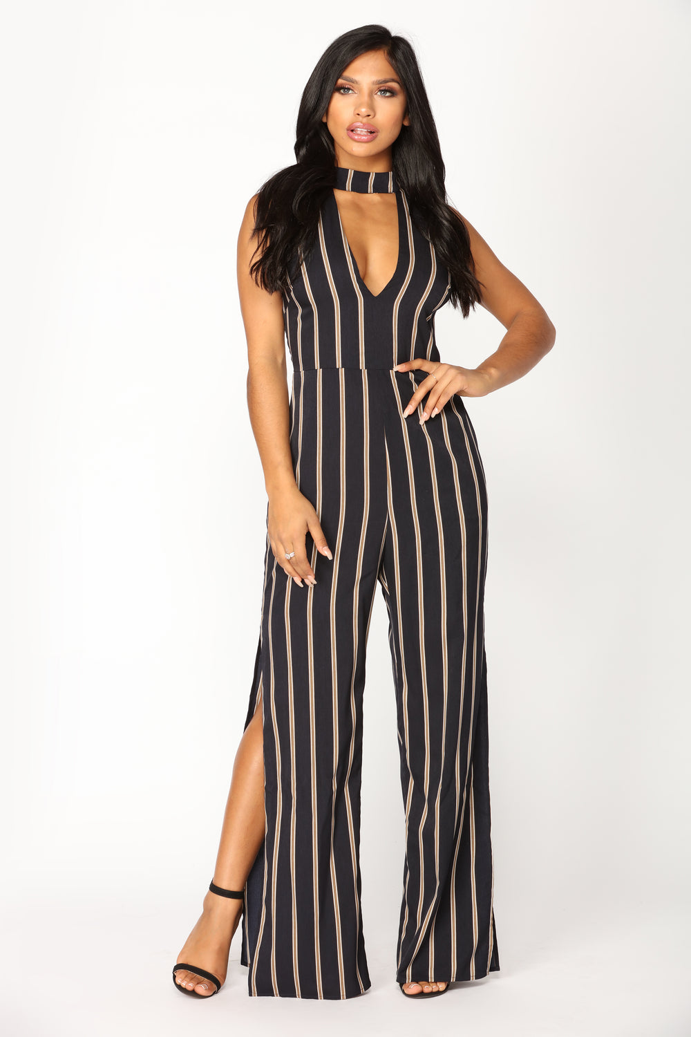 Kudos Striped Jumpsuit - Navy
