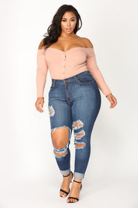 Fool In Love Off Shoulder Bodysuit - Mauve