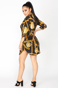 Calabria Shirt Tunic - Black/Gold
