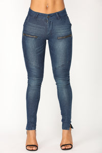 Vroom Vroom Moto Skinny Jeans - Dark Denim