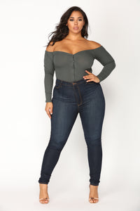 Fool In Love Off Shoulder Bodysuit - Charcoal Angle 9
