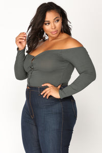 Fool In Love Off Shoulder Bodysuit - Charcoal Angle 10