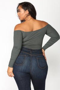 Fool In Love Off Shoulder Bodysuit - Charcoal Angle 11