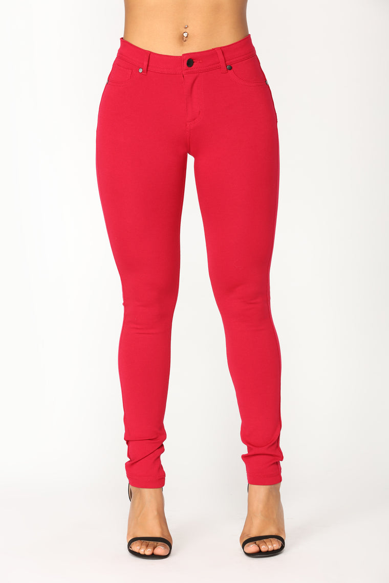 Penelope Ponte Pants - Red