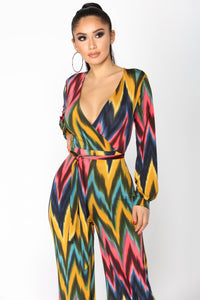 Wild World Chevron Jumpsuit - Multi