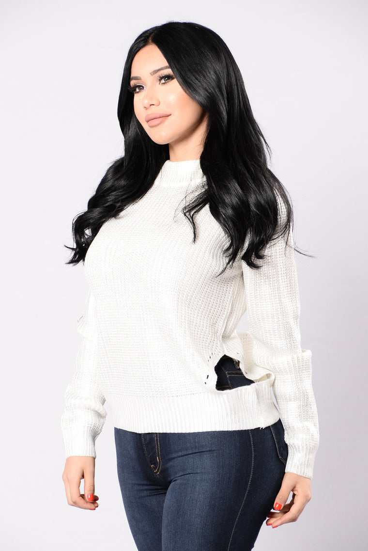 Such A Show Off Sweater - White/Silver