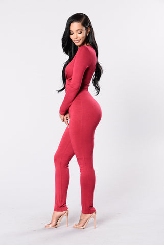 Ride Out Jumpsuit - Deep Red