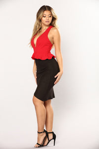 Penelope Peplum Crop Top - Red Angle 3