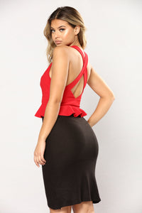 Penelope Peplum Crop Top - Red Angle 2