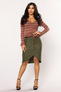 Delania Striped Top - Rust Combo