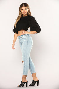 Lit Lace Up Long Sleeve Top - Black