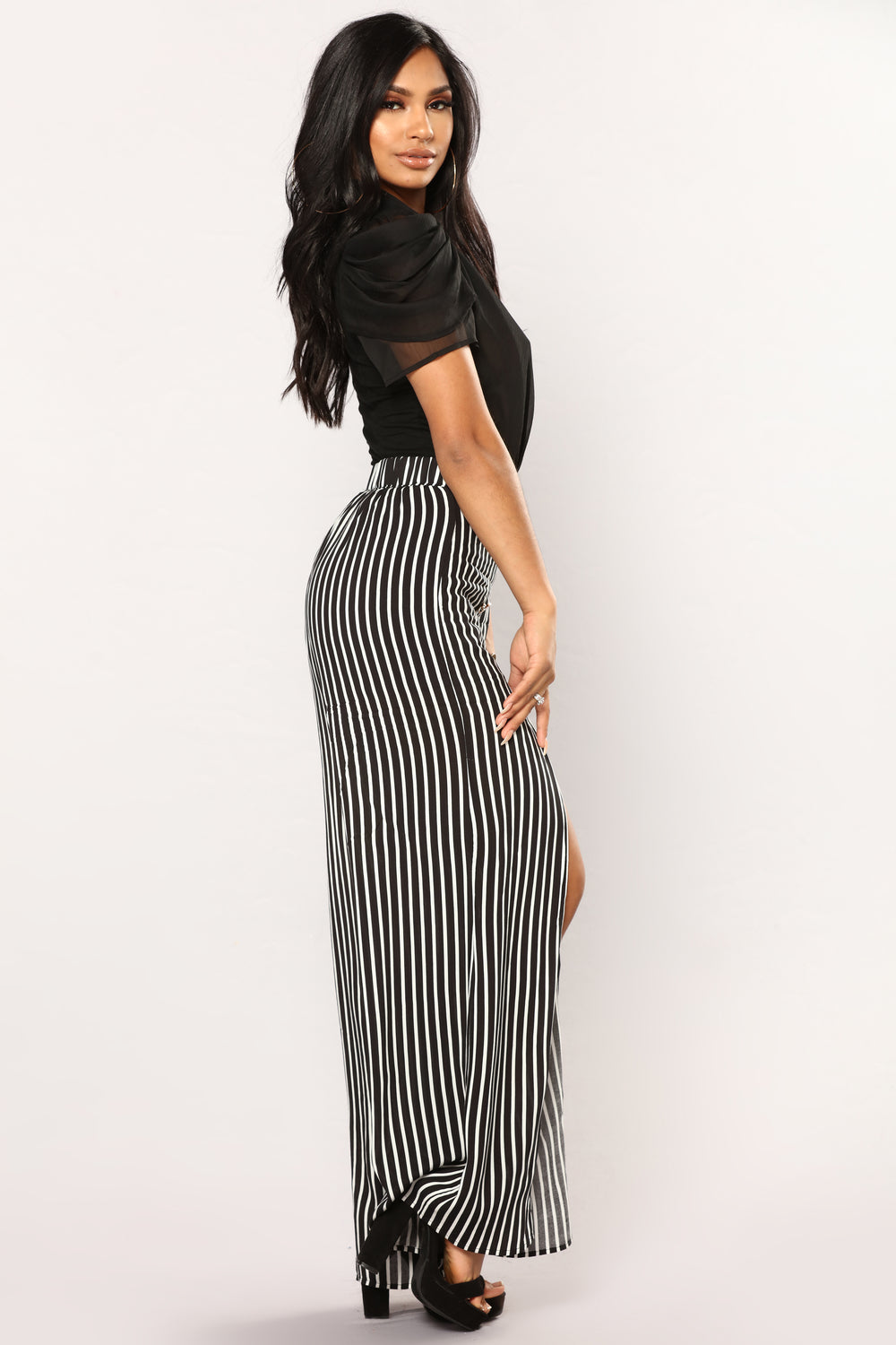 Katara Stripe Pants - Black/white