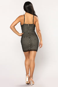 Ring Me A Mini Dress - Black/Nude Angle 3