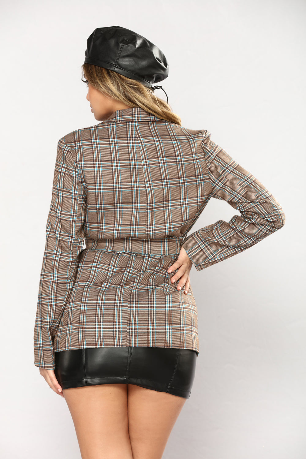 All Facts Plaid Blazer - Brown/Multi