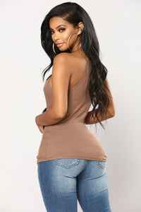 Kimberly Halter Tank Top - Mocha