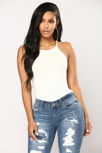 Kimberly Halter Tank Top - Off White Angle 1