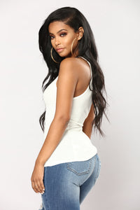 Kimberly Halter Tank Top - Off White Angle 3