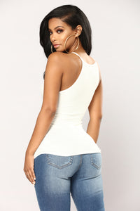 Kimberly Halter Tank Top - Off White Angle 4