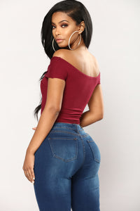 Grab Hold Of Me Off Shoulder Bodysuit - Wine
