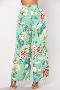 State Of Affairs Floral Pants - Green