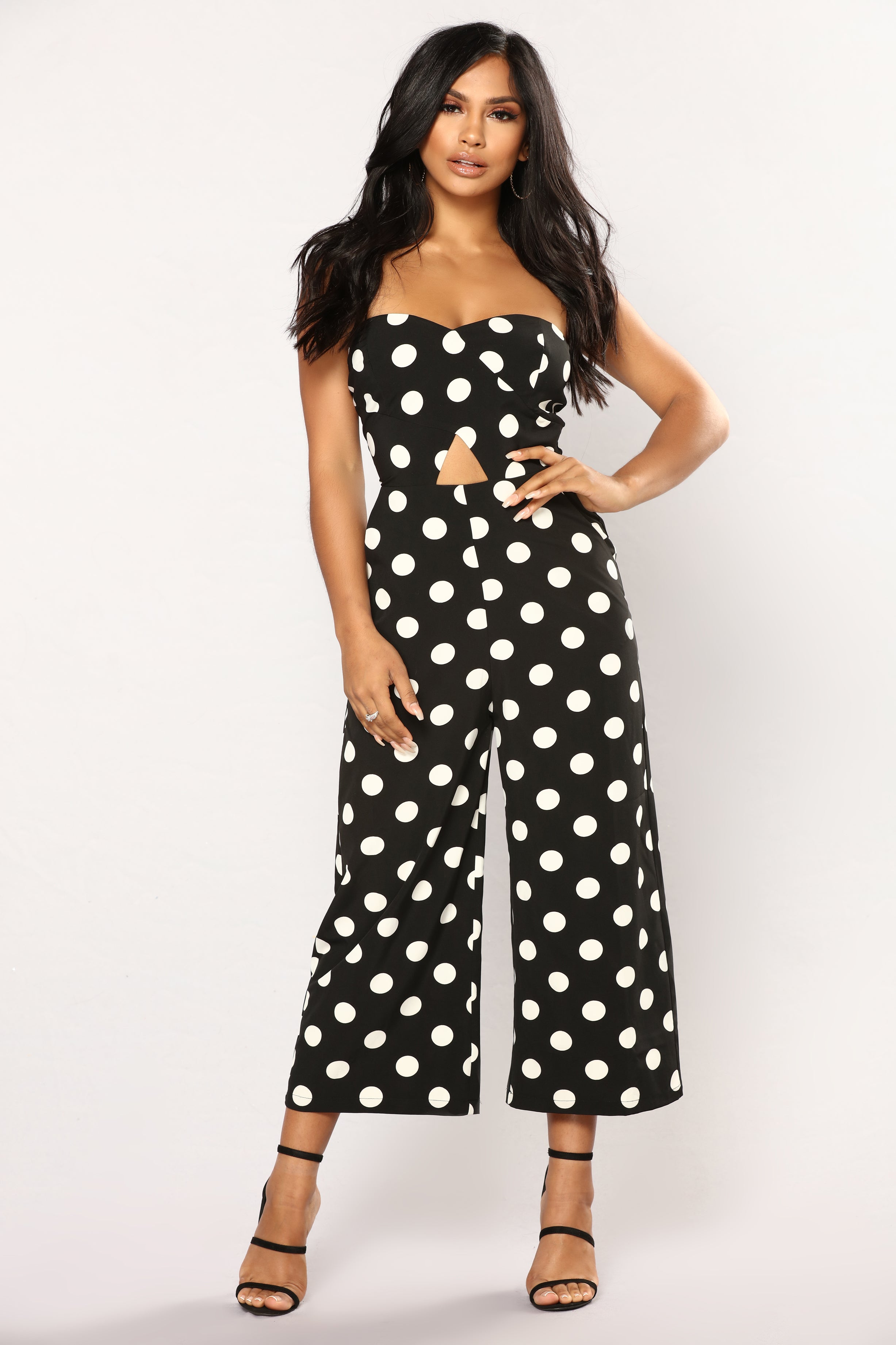 Hot Shot Polka Dot Jumpsuit Blackwhite
