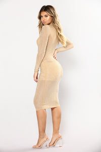 Full Of Secrets Studded Dress - Nude