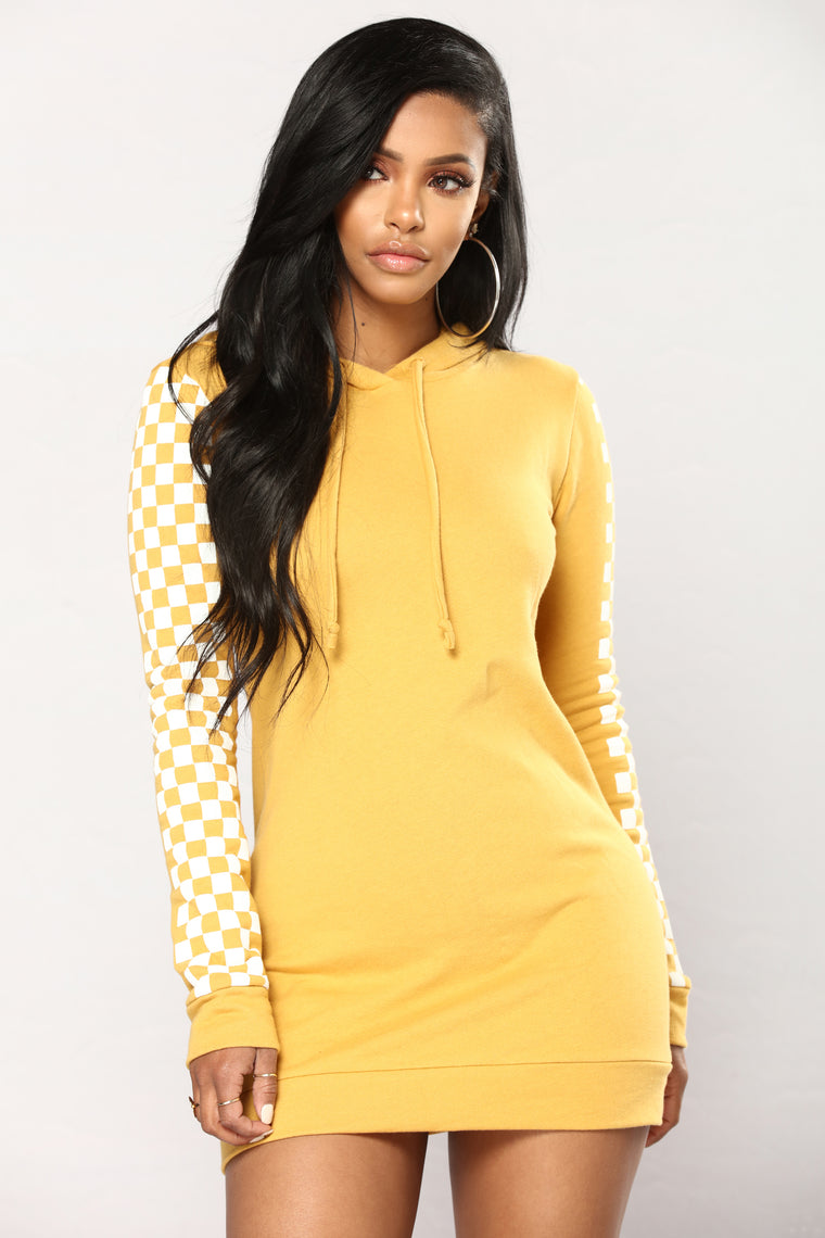Race My Checkered Tunic Hoodie - Mustard/White