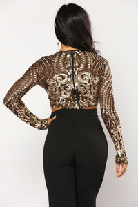 Glam And Sassy Sequin Top - Gold