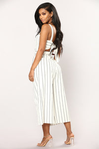 Carina Stripe Jumpsuit - White