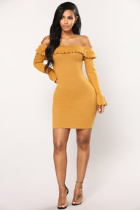 Mily Ribbed Dress - Mustard