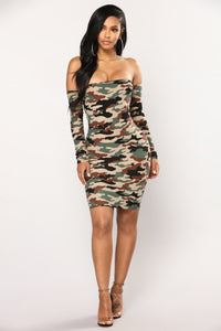 Aim To Misbehave Camo Mini Dress - Olive