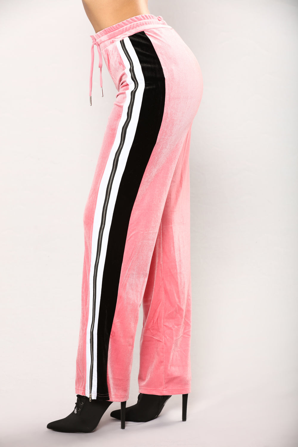 Becky Stripe Velour Lounge Pants - Pink