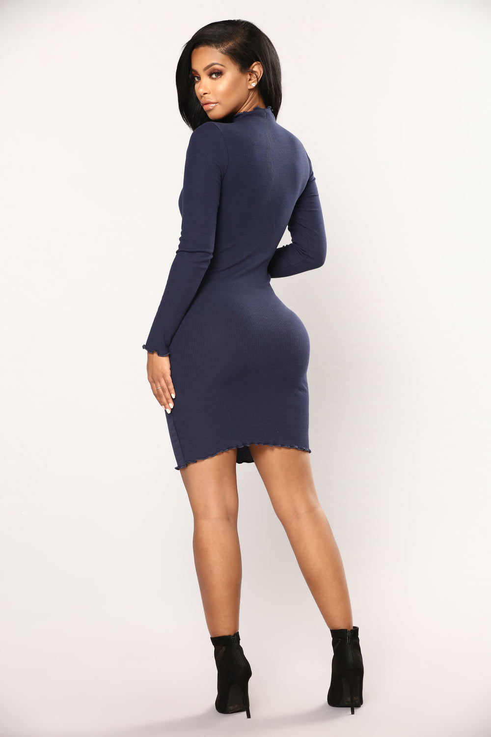 Cinna Ribbed Dress - Navy