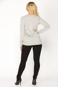 Back To 82 Sequin Lounge Top - Heather Grey
