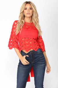 Little Things Crochet Top - Red
