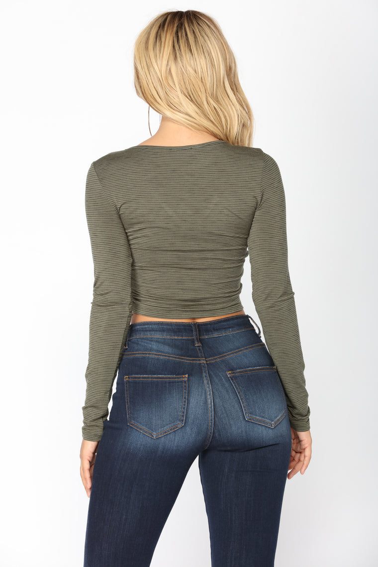 It's A New Day Top - Olive/Black