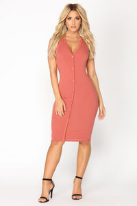 Alisa Ribbed Dress - Marsala Angle 2