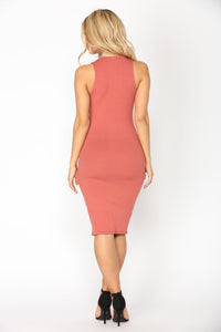 Alisa Ribbed Dress - Marsala Angle 4