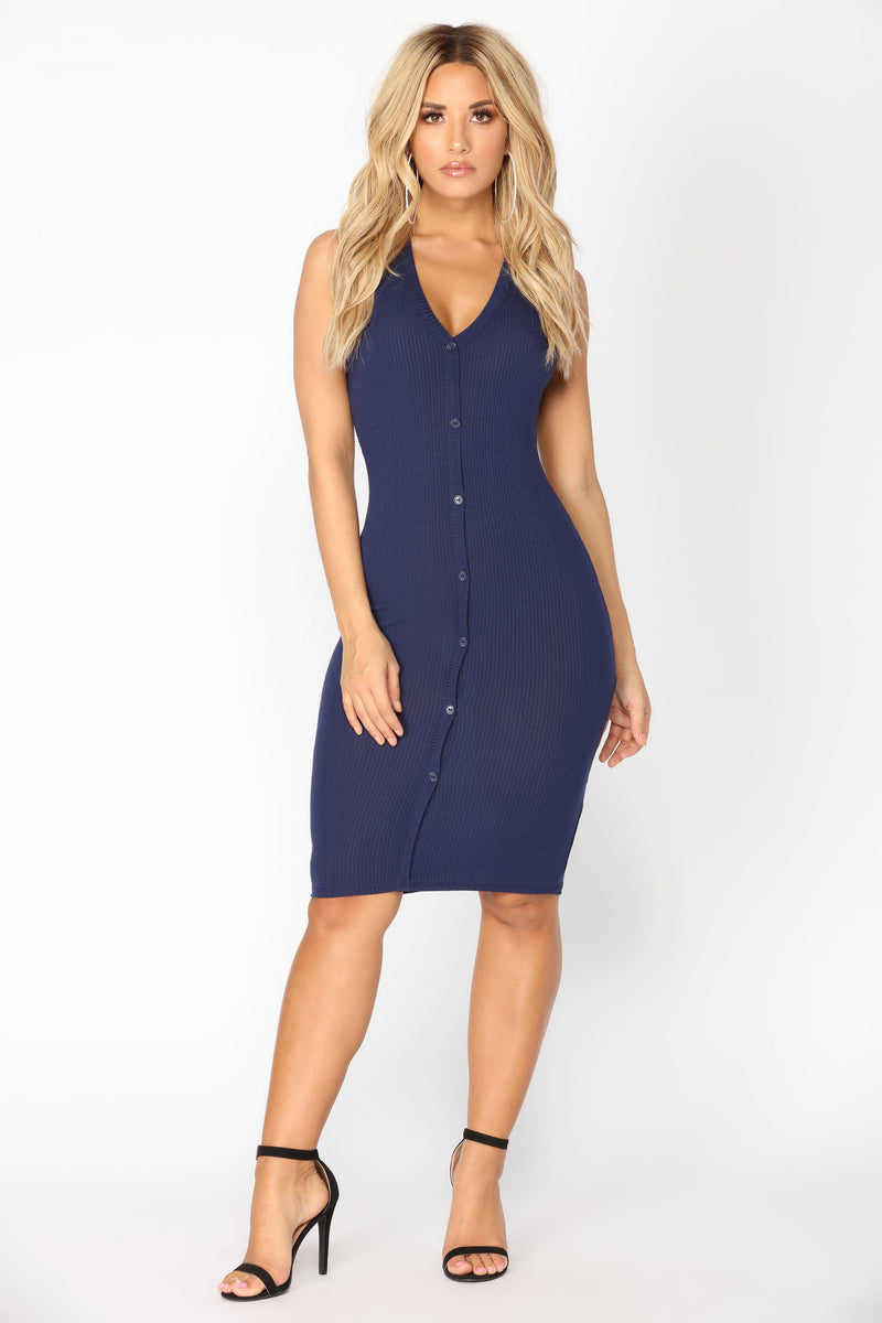 Alisa Ribbed Dress - Navy