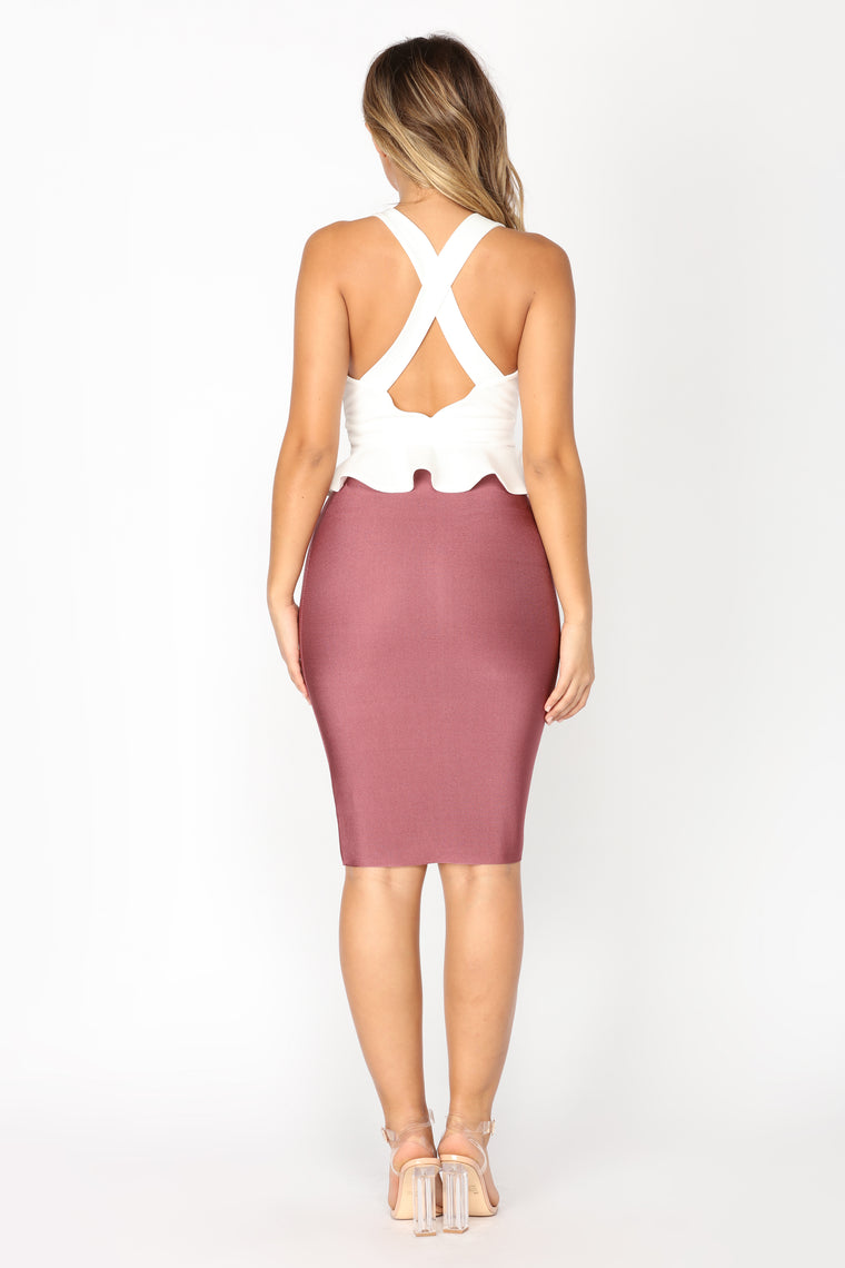Penelope Peplum Crop Top - Off White