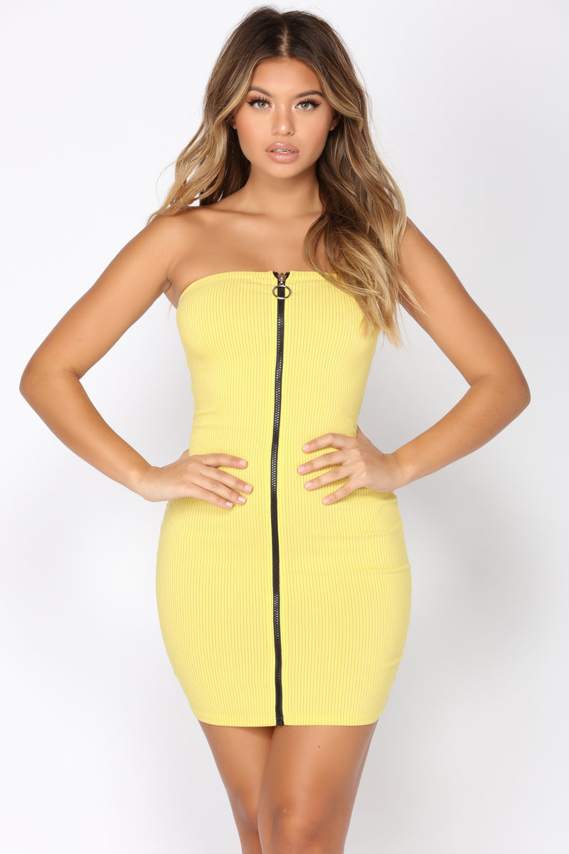 Add Fuel Stripe Dress - Yellow