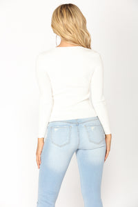 Couldn't Care Less Knot Top - Ivory
