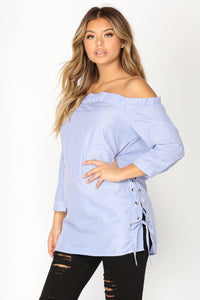 Addison Off Shoulder Tunic - Blue/White